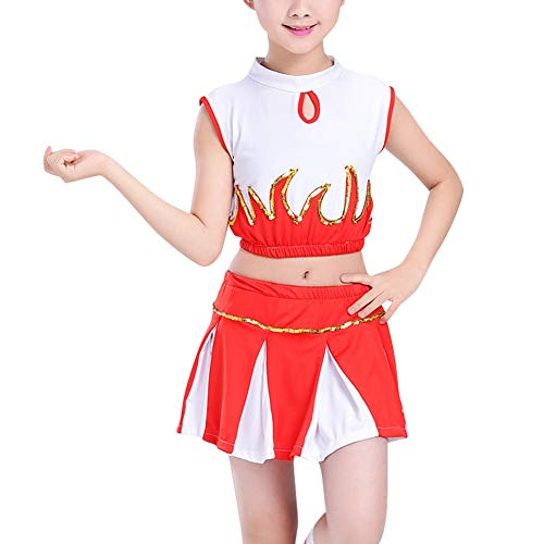 Gtagain Kinder Cheerleading Uniform - Cheerleader Kostüm Plissee Mädchen Pailletten Aerobic Performance Kostüm Oberteile Rock - Schule Aerobic Kostüm