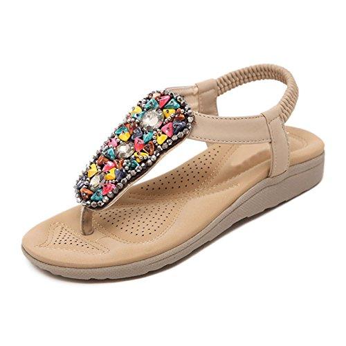Weibliche Sommer Neue Sandalen Römischen Stil Perlen Clip Toe Wohnungen Damenschuhe Bohemian Wedges Sandalen Strand Im Freien,Apricot-EU:38/UK:5.5 (Römischen Stil Kleider)