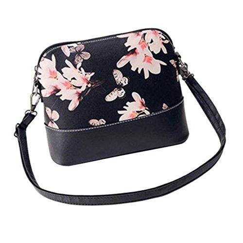 Kafe Loveso Damen Frauen Blumenmuster Schwarz Leder Umhängetasche Handtasche (Leder-umhängetasche Patent Schwarz)