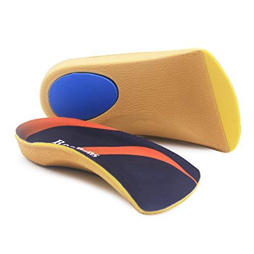 RooRuns Orthopädische Einlegesohlen, 3/4-hohes Fußgewölbe, für flache Füße, Plantarfasziitis, Fußgewölbe, Füße, Ermüdung - Fersenkissen für Männer, Frauen - zum Laufen, Laufen, Übungen