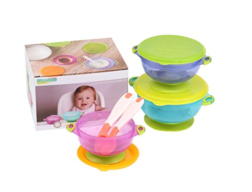 Spill Proof Suction Bowl for Baby, Toddler Feeding Set – 3 Sizes Bowl with Seal-Easy Lids, Bonus 2PCS White Hot Safety Spoon. BPA Free 41YCf1KKdFL