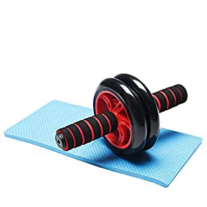 ZNL AB Wheel mit Knie Pad Bauchtrainer Bauchroller Bauchmuskeltrainer inkl. Knieauflage DJFL02 Rot