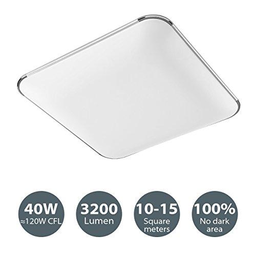 40W LED Deckenleuchte für Kueche Wohnzimmer Badezimmer Schlafzimmer, modern quadratisch, 3000K warmweiss, 53x53 cm, 3200 lm, 230v LVWIT