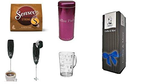 Senseo Kaffeepads Kräftig 1 x 16 Pads + 1 Pad Dose Pink + Capuccino Mixer + Design Glastasse von...