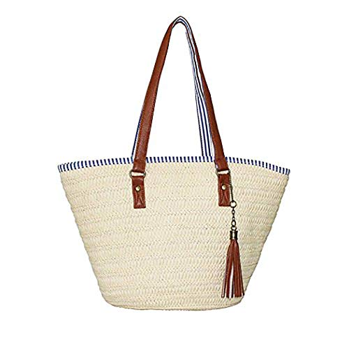Marykeit Stroh Strand Tasche Sommer Handtaschen Schulter Tasche Tote mit Leder Griffe Quasten Frau Tasche,Beige