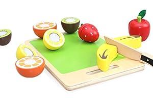 Beehive Toys - Juego de Cortar Fruta de Madera para niños con Velcro y Cuchillo de Corte