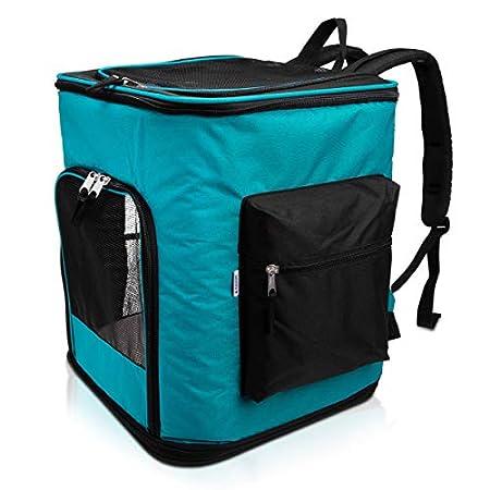 Navaris Rucksack für Hund Katze gepolstert – Hunderucksack Katzenrucksack mit Bauchgurt – 40x33x40cm Haustier Backpack faltbar – Traglast bis 12kg