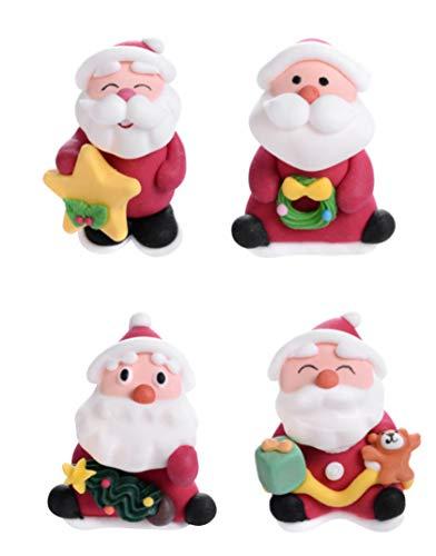 Dream' s Party Set 4 Babbo NATELE in Zucchero - Soggetti Natalizi - Babbo Natale con Doni - Decorazione Natalizia per Torte, panettoni, pandori e Dolci