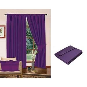 rideaux en fausse soie enti rement doubl s avec attaches 170cm x 183cm violet. Black Bedroom Furniture Sets. Home Design Ideas