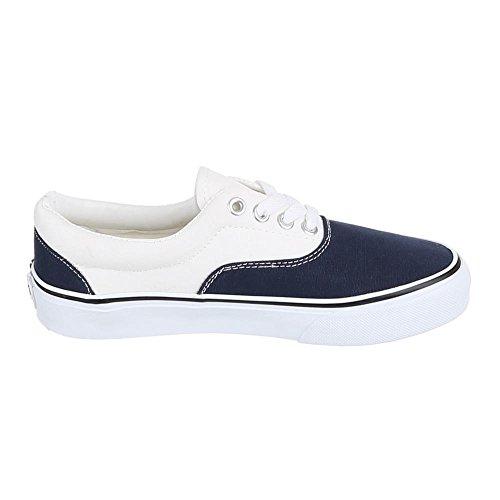 Ital-Design, yj876001–1, loisirs chaussures à lacets Sneakers Bleu - Blau Weiß