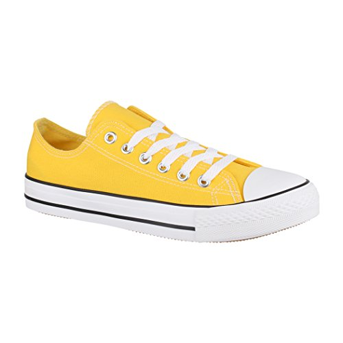 Elara Unisex Sneaker | Bequeme Sportschuhe für Damen und Herren | Low top Turnschuh Textil Schuhe Jumex XG200 Yellow-39