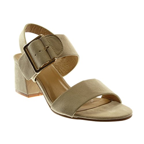 Angkorly Shoes Sandales Mode Décolleté Avec Talon Avec Bride À La Cheville Femme Boucle String High Block Talon 5,5 Cm Beige