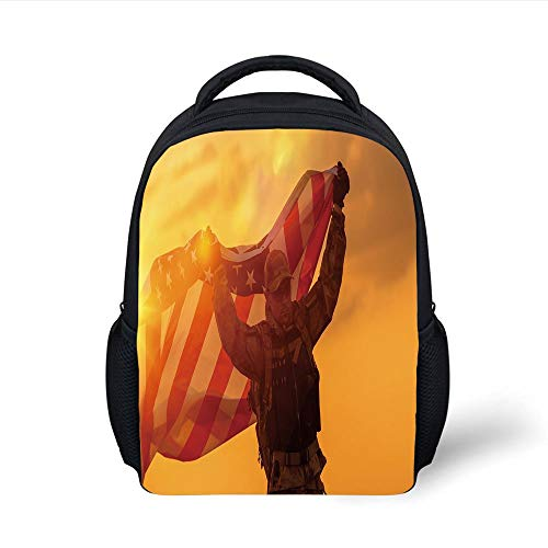 Kids School Backpack United States,Soldier Celebrating Victory Running with Large American Flag Armed Forces Decorative,Multicolor Plain Bookbag Travel Daypack - Big 3x5 Flag