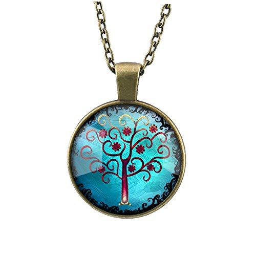 Suxnos Leben Baum Halskette Weinlese Anhänger für Frauen / Männer Geschenk (Bäumen Männer In)