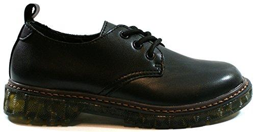 Cafè Noir Femmes Chaussure Sneaker Derby Stringata Marten Faible Noir