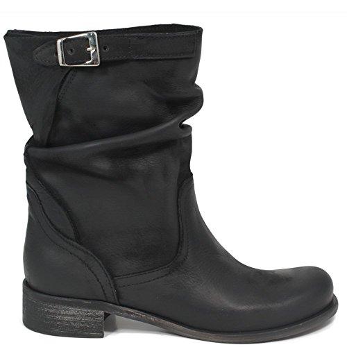 Stivaletti Estivi Biker Boots Bassi Donna In Time 0199 Nero in Vera Pelle Made in Italy Nero