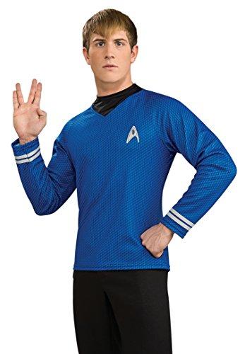 Trek Uniform Star Kostüm - Star Trek Dlx Deluxe Shirt T-Shirt blau Kostüm Gr. L, M, XL, Größe:XL