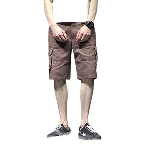 CuteRose Men's Multi-Pockets Baggy Straight Oversized Short Cargo Work Pants Coffee 37 Old Navy Capri-jeans