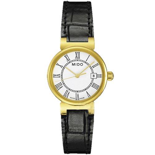 Mido Dorada bianco quadrante orologio da donna in pelle m2130.3.26.4