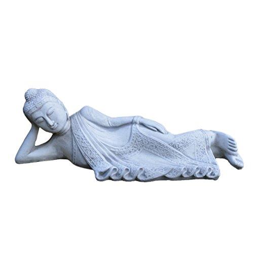 Wunderschöner massiver Stein Buddha - Figur aus Steinguss frostfest Raumdeko Gartendeko (Grau)