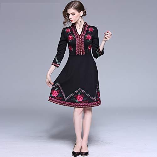 QUNLIANYI Ballkleid Lang Damen Tüll Floral Stickerei A-Linie Kleid Weiblichen Stil Elegante Lässige V-Ausschnitt Retro Party Kleid Robe Femme S -