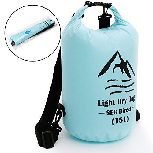 SEG Direct Sac Etanche Léger pour Camping, Kayak, Pêche, Canoë, Planche à Voile et Autres Sports Nautiques - 15L Bleu Clair
