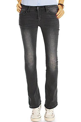 Bestyledberlin Damen Boot-Cut Jeans, Slim Fit Stretch Schlaghose, Ausgestellte Hüftjeans, Schwarz (Faded Black), Gr. 34/XS (Designer Cut Vintage Jeans-jeans)