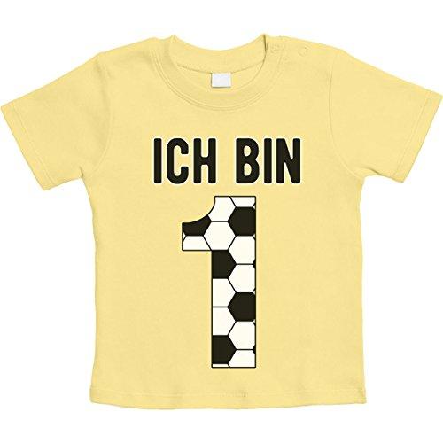 Geburtstagsshirt 1 Jahr Junge Geschenk Fußball Unisex Baby T-Shirt 12-18 Monate / 86 Gelb -