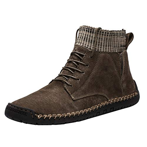 Anglewolf Wildleder Herren Casual Plus Samt Retro Kampfstiefel Warme Socken,Lokomotive Werkzeugschuhe Herren Snowboot GefüTtert Schuhe