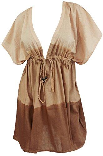 La Leela spiaggia privata con veste tie dye mano costume da bagno di cotone morbido coprire donne kaftano marrone amaro