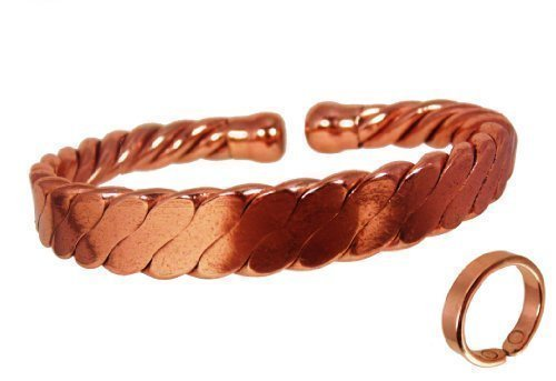 a1722f7a1e3f The Online Bazaar Magnetic Men s Heavy Flattened Copper Bracelet and Plain  Magnetic Ring Combi Set (