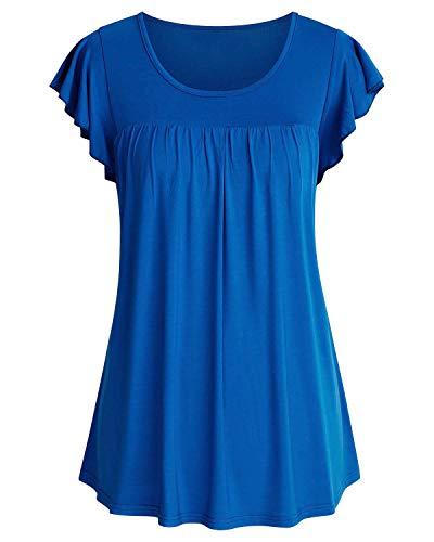 SOLERSUN Blusen für Frauen Casual, Frauen Übergröße Einfarbig Rüschen Kurzarm Blusen Shirts für die Arbeit (Blue XL) - Rüschen Kurzarm Bluse