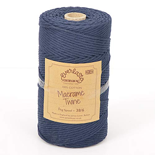 Everlasto - Bobina de Hilo de algodón Suave de 1 kg para Manualidades de macramé 38/6 (4 mm Aprox.), Color Azul Marino
