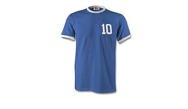 d13cf6ec9 Diego Maradona 10 Argentina Country Ringer T-Shirt Royal White - XXL   Amazon.co.uk  Clothing