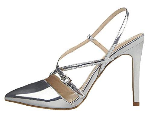 HooH Femmes Cross Strap Slingback Talon Haut Mariage Sandales silver