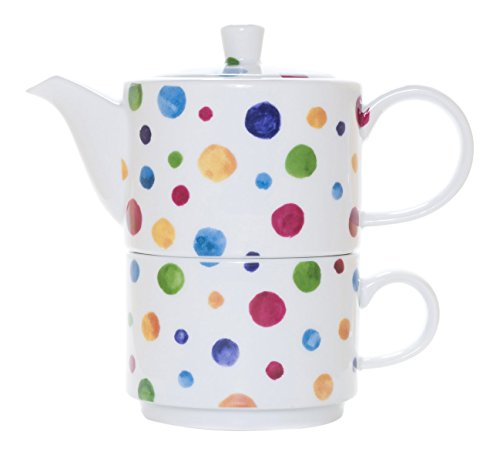 La Cija Dots Tea for One - Set de Porcelana con Taza y Tetera de Uso Individual, Color Blanco