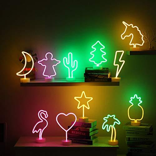 Led Neon Lichter, USB Mond Flamingos Ananas dekorative Basis kleine Nachtlichter, Weihnachtsbeleuchtung, Urlaub Dekoration Lichter, kleine Nachtlichter mond