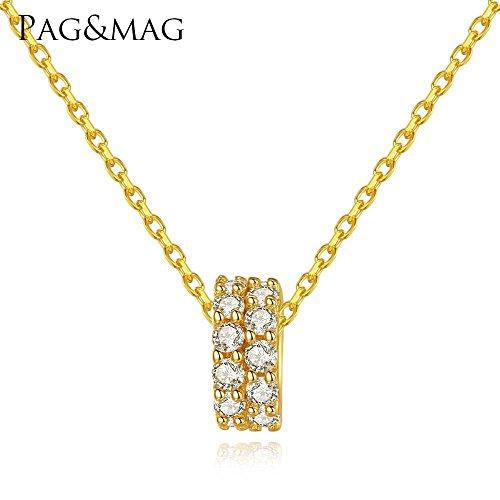 Haixin S925 argent Double rangée complète de zirconium transbordement pendentif collier anti-allergie sterling en argent Sterling pendentif s925 chaîne longueur 40 cm + 5 cm