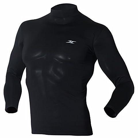 Mock Turtleneck Men Shirts Tops Base Layer Compression Long Sleeve T Shirts LO Black XXL