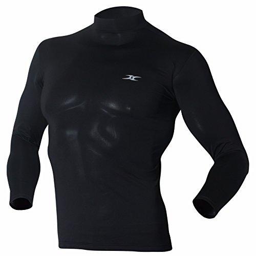 Mock Rollkragen Herren Shirts Tops Base Layer Kompression Lange Ärmel T Shirts Lo Gr. Large, Schwarz (Layer T-shirt Mock)