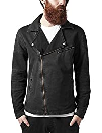 Urban Classics Acid Wash Terry Biker Jacket, Chaqueta para Hombre