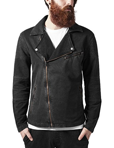 Urban Classics Herren Jacke Acid Wash Terry Biker Jacket, Grau (Darkgrey 94), Small