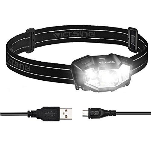 VicTsing Frontal Led USB Recargable, 6 Modos de Luces, 6 HORAS de Emisión Continua (1000mAh Batería) y IPX6 Impermeable, Para Acampar, Pescar, Aire Libre y Etc.( Muy Ligero : 68 g )
