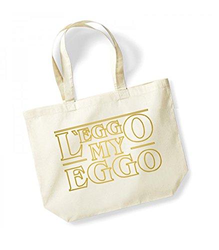 L'eggo My Eggo - Large Canvas Fun Slogan Tote Bag Natural/Gold