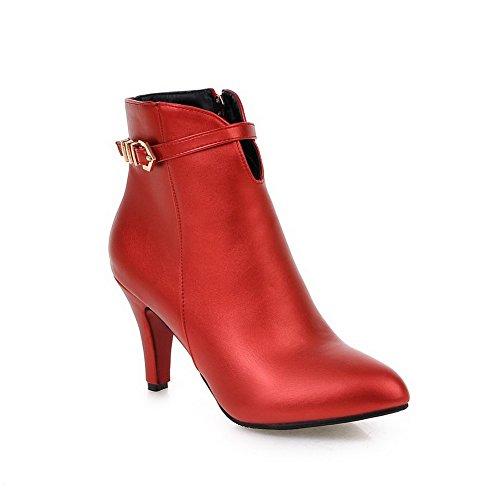 Odomolor Damen Reißverschluss Spitz Zehe Hoher Absatz Niedrig-Spitze Stiefel, Rot, 39