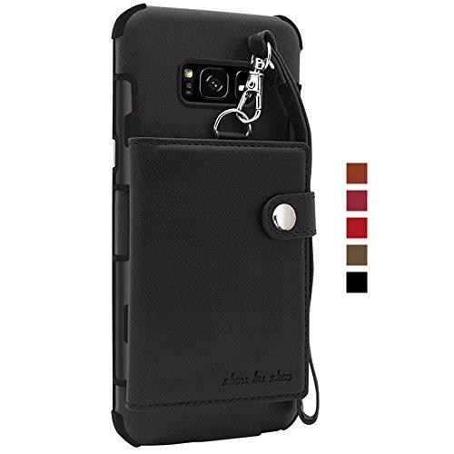 Handy Hülle Schutzhülle Tasche als Geldbeutel Brieftasche PU Leder case mit Kartenfächern Druckknopf Leine Handycase Handyhülle für Samsung Galaxy S8 Schwarz
