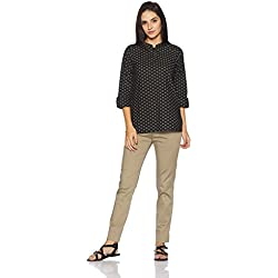 Myx Women's Straight Fit Cotton Kurta (NIT001CORE6A_Black_Large)