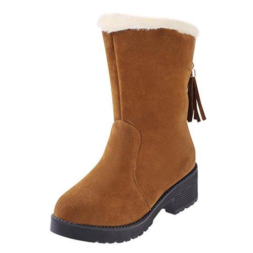 Bottes et boots,Transer® Mode Femmes Semelle souple Bottes de neige Flat Winter Chaud Chaussures de neige Jaune