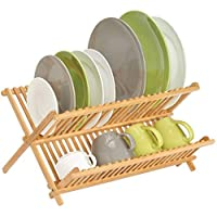 Rubik Wood Dish Drainer Rack, 2 Tiers Sink Dish Drying Rack with 20 Holding Slots for Plates Cups and Mugs Foldable and Collapsible, Natural Wood Finish