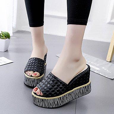 RUGAI-UE Mode d'été occasionnels Chaussures Femmes Sandales talons PU confort,blanc,US5 / EU35 / UK3 / CN34 Black